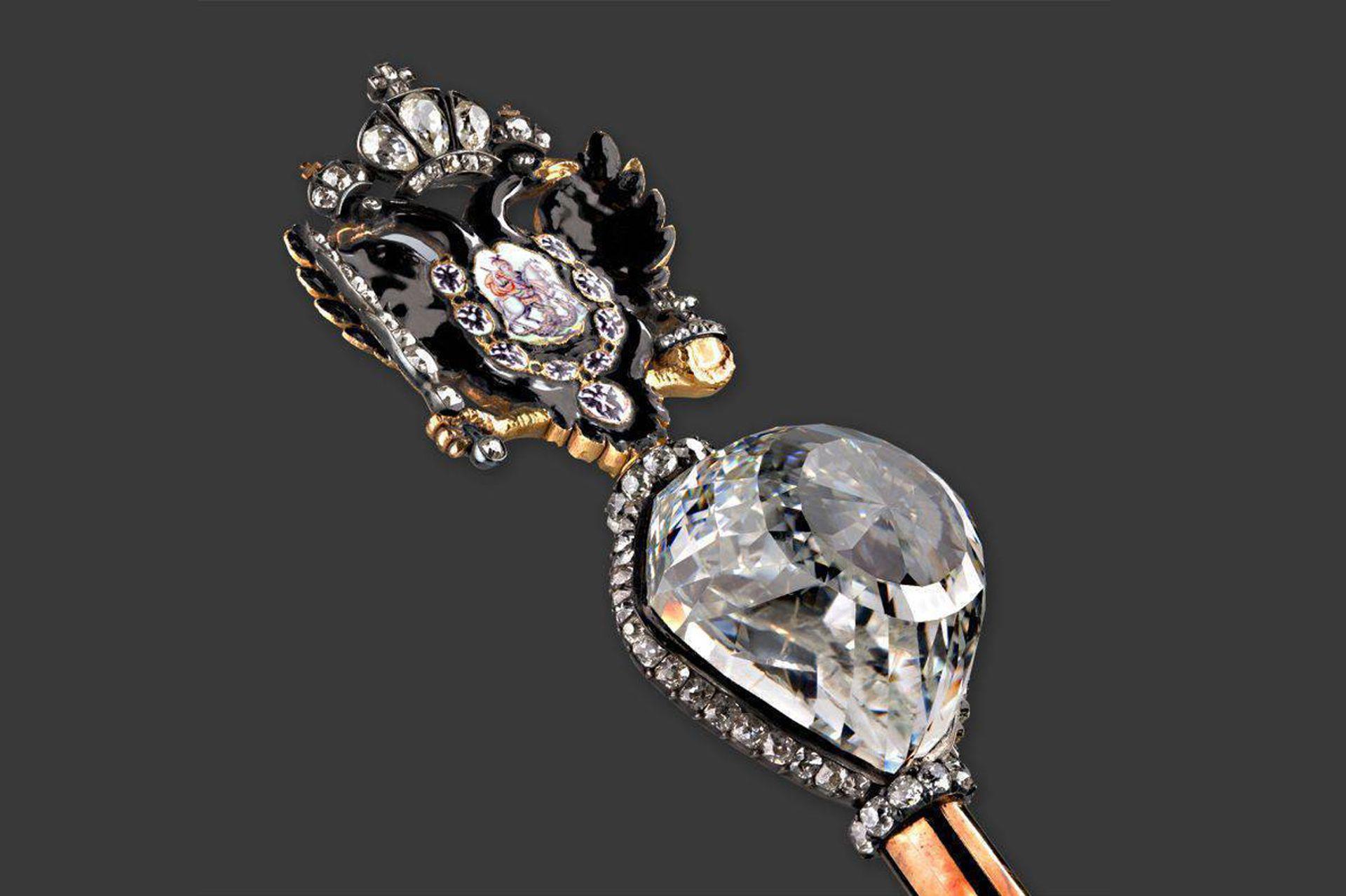 El diamante Orlov es parte de la colección de diamantes del Kremlin en Moscú.