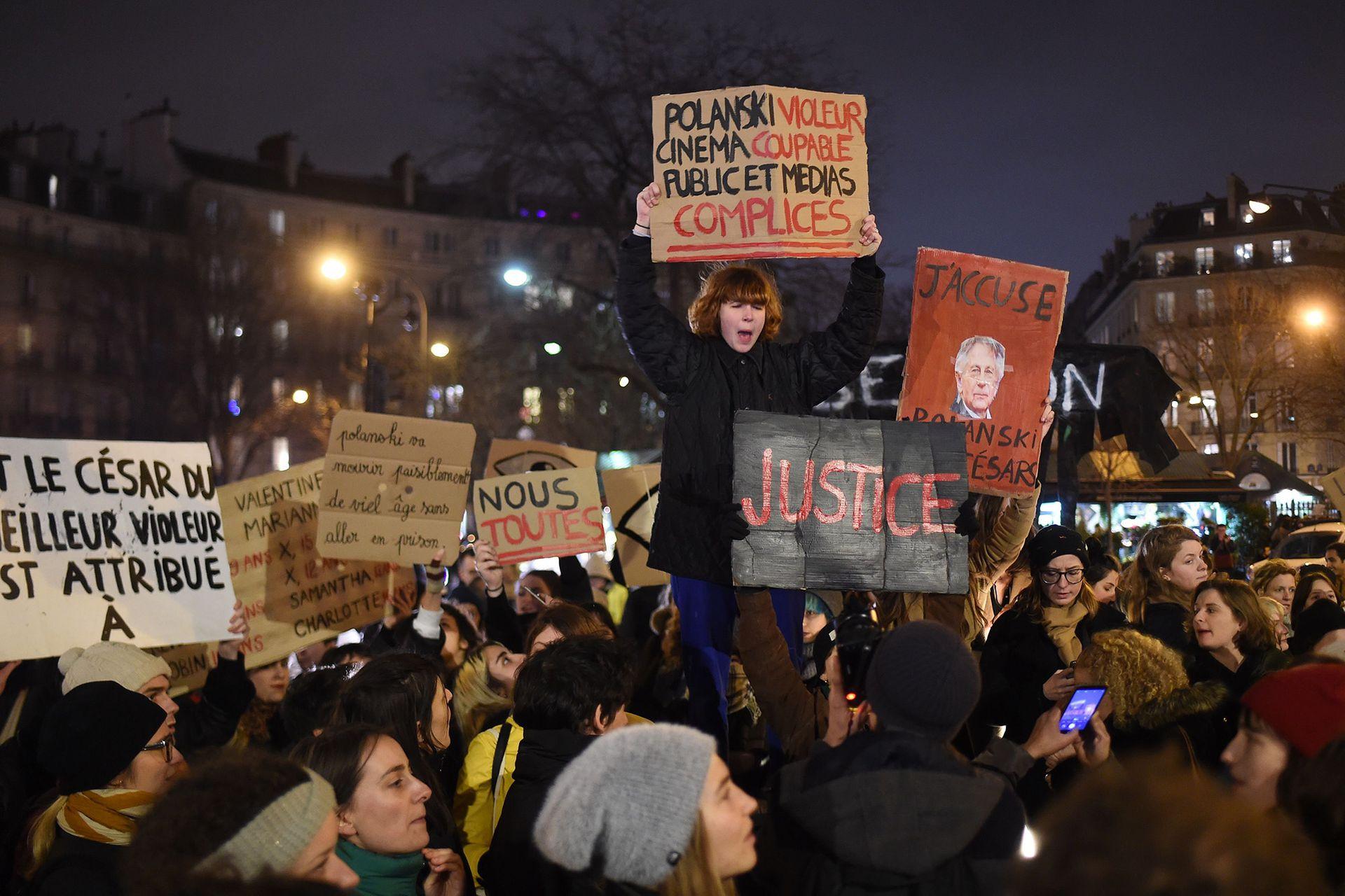 La manifestación en París, en febrero de este año, por el escándalo de Roman Polanski