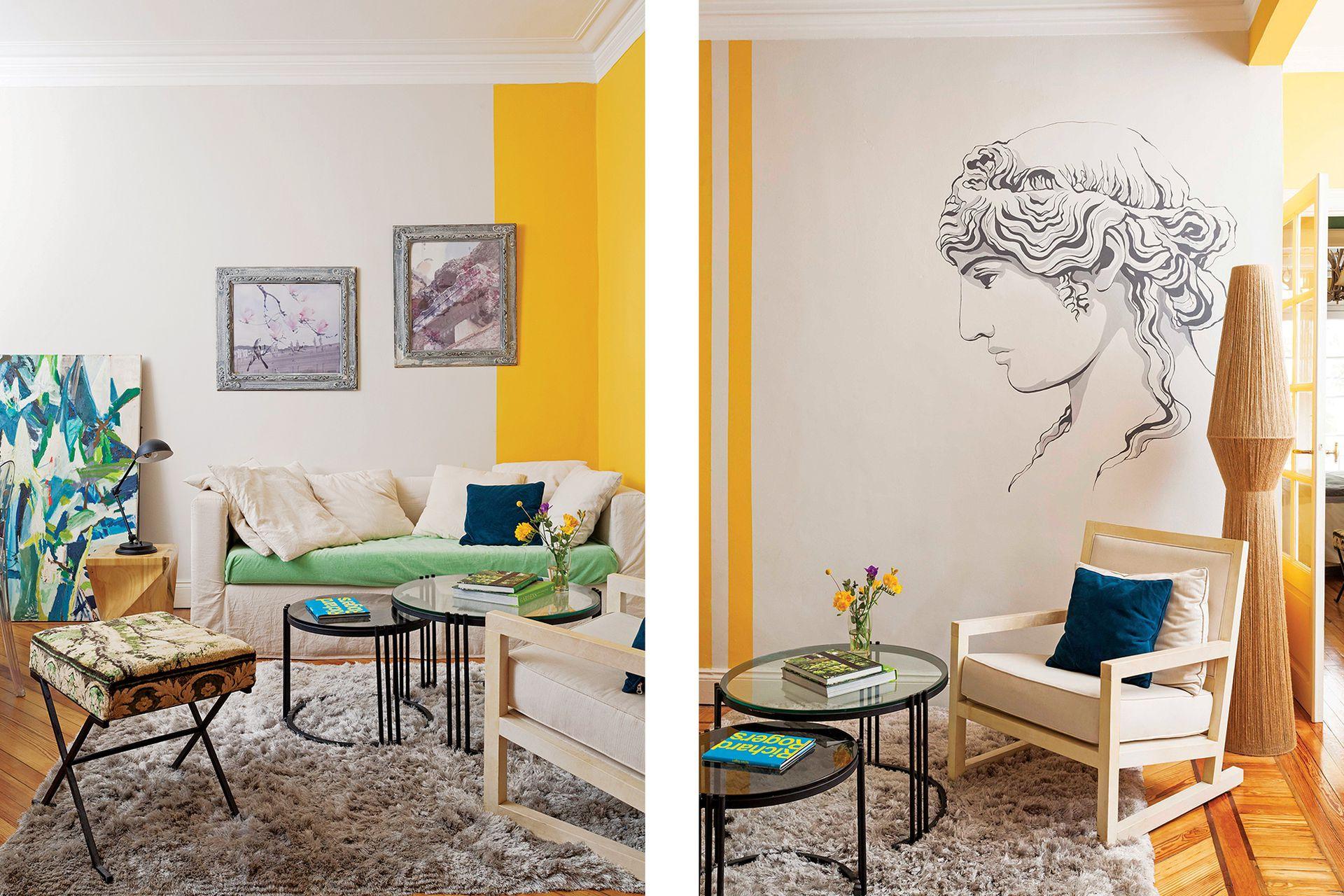 Izq.: Banqueta (Harturo) y mesas bajas, diseño de Monge. El asiento del sofá (Apatheia) se cubrió con un género verde (Casa Almacén), inspirado en el cuadro de Romina Salem, apoyado en el piso. Alfombra (Mihran). Con marcos de su bisabuela, Monge hizo fotomontajes.