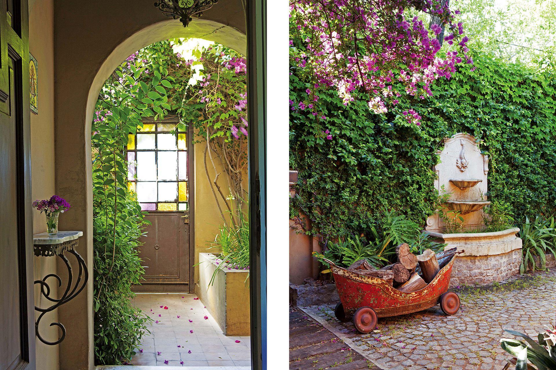 La romántica entrada desde la calle. En el camino se hizo una fuente que evoca un viejo jardín.