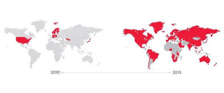 Redes LTE en el mundo en los últimos tres años