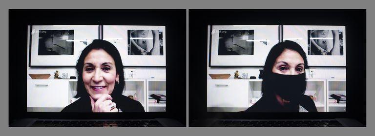 La artista Matilde Marín, sin y con barbijo, en los primeros meses de la cuarentena de 2020