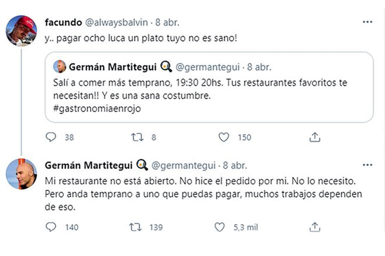 La contundente respuesta de Germán Martitegui a un usuario que criticó los precios de su restaurante