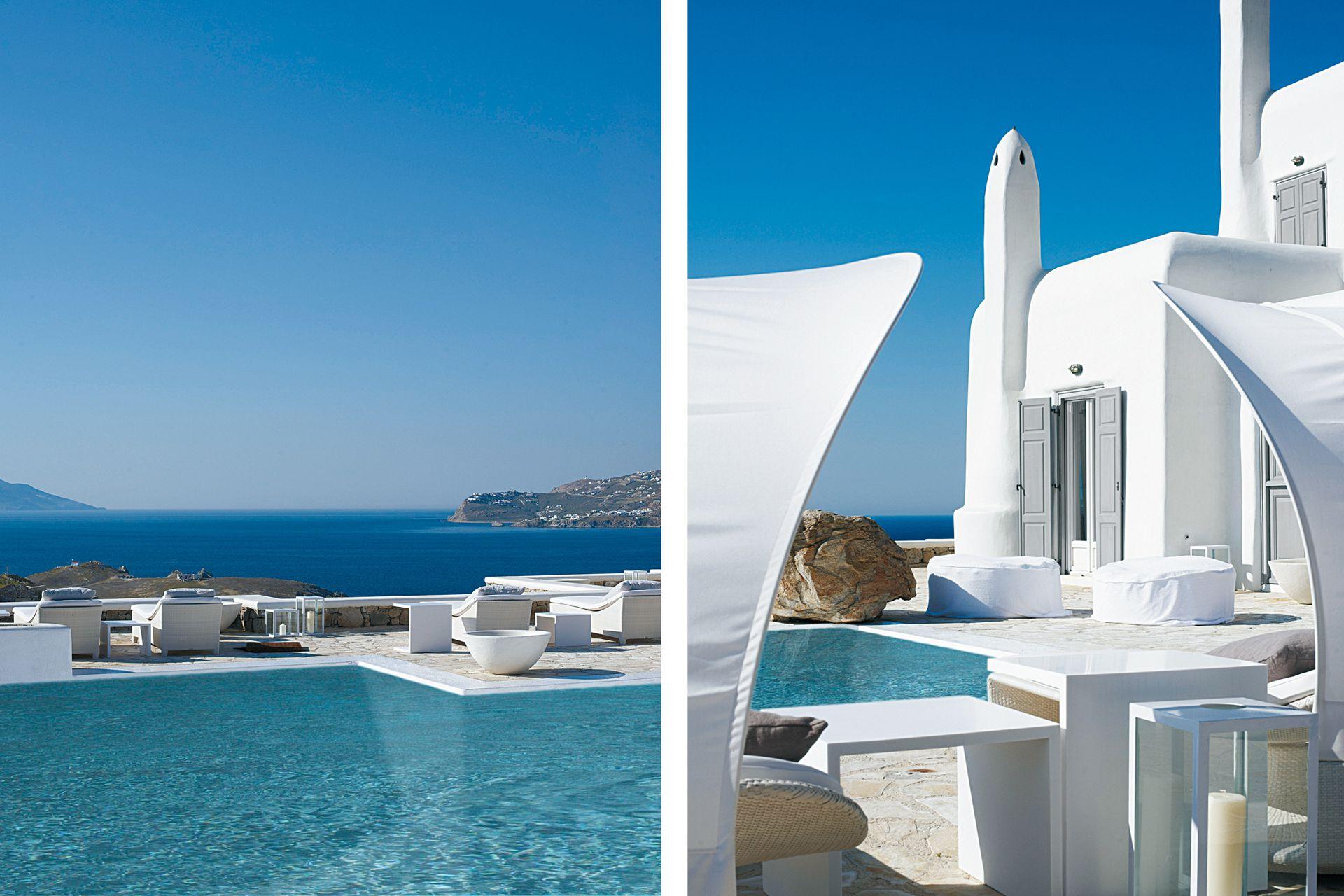 Para disfrutar del aire libre junto a la pileta de agua salada, dos sillas de playa Summer Cloud', de la firma alemana Dedon, con altos respaldos inspirados en velas de barco.
