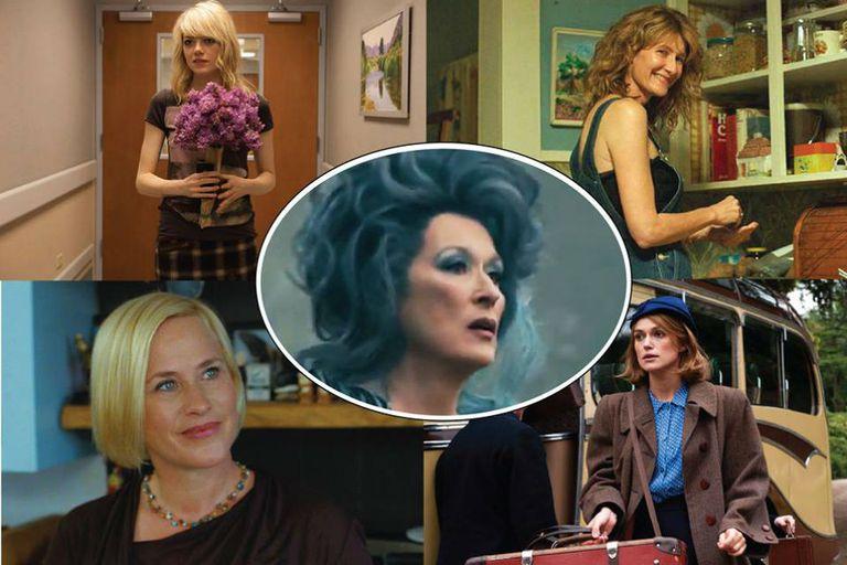 Emma Stone, Laura Dern, Patricia Arquette, Keira Knightley y, en el centro, Meryl Streep