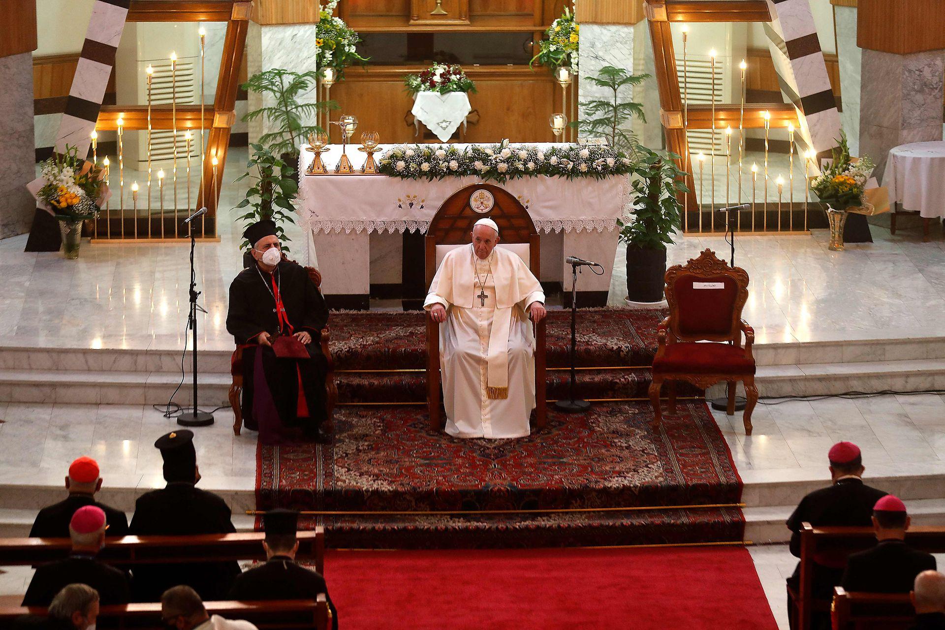 El Papa Francisco durante su sermón en la Catedral Siro-Católica de Nuestra Señora de la Salvación