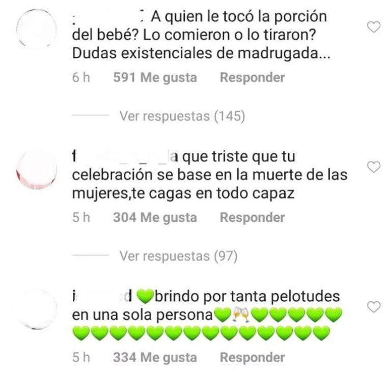 Algunos de los agresivos comentarios que recibió Granata por publicar su torta contra la legalización del aborto.