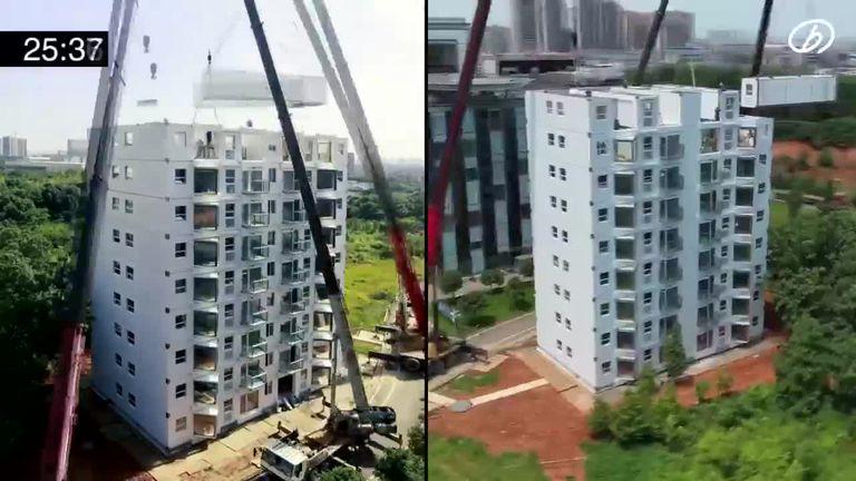 Una empresa china construyó un edificio de 10 pisos en 29 horas