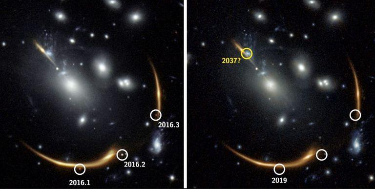 13-09-2021 La gravedad del cúmulo de galaxias MACS J0138 curva tanto el espacio que la luz de una galaxia detrás de él se inclina hacia nosotros de varias maneras diferentes. POLITICA INVESTIGACIÓN Y TECNOLOGÍA S. RODNEY ET AL.