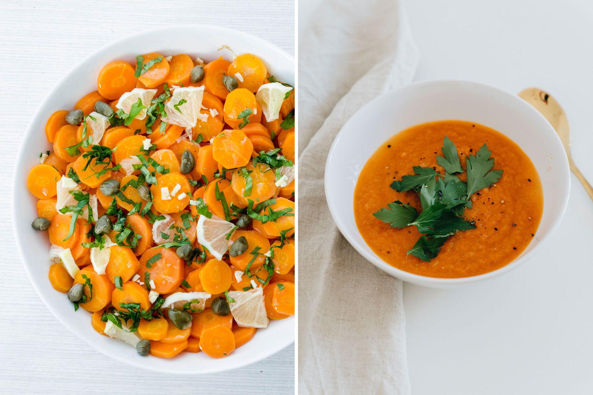 Izquierda: ensalada de zanahoria cocida (ver receta). Derecha: en sopas licuadas, la zanahoria se luce con su despliegue de color y dulzor.