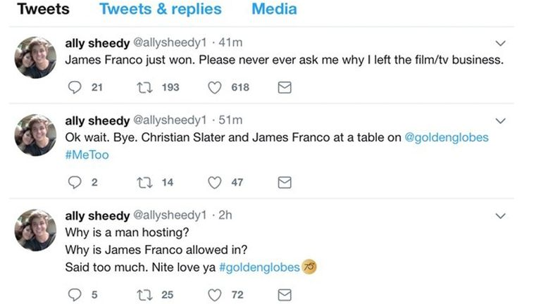 Ally Sheedy vs James Franco. La actriz se despachó en Twitter, pero después borró sus comentarios