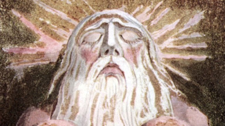 """Una pintura de Urizen, la encarnación de la sabiduría convencional, la razón y la ley, de """"El libro de Urizen"""", de William Blake"""