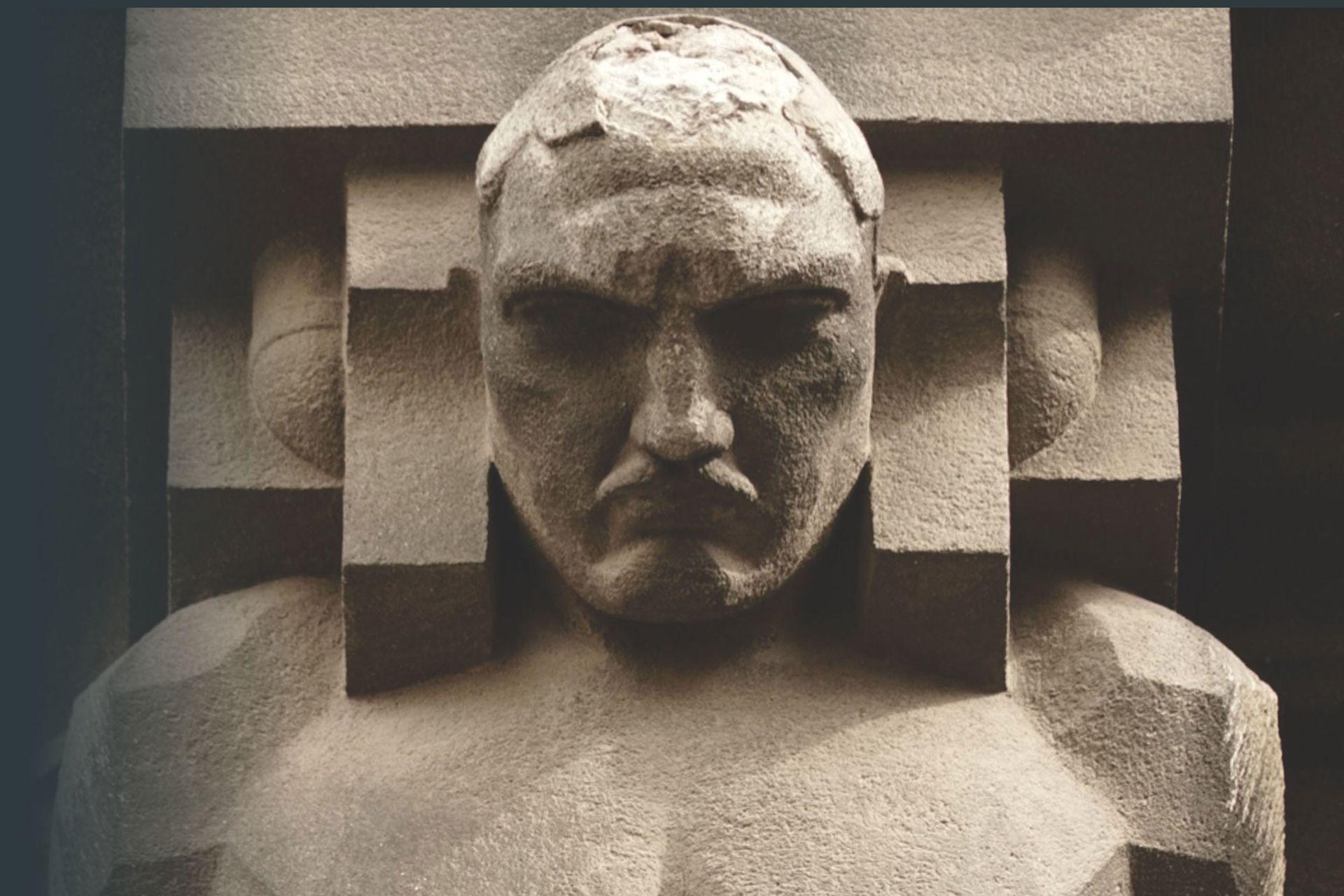 El rostro del arquitecto del edificio, Morten Rönnow, en uno de los atlantes.