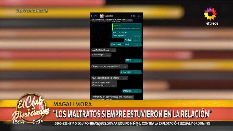 Magalí Mora mostró capturas de chats que tuvo con su expareja, quien la insultaba y la amenazaba constantemente