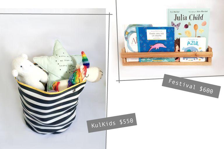 Canasto juguetero de KulKids $550 / Biblioteca de Festival $600
