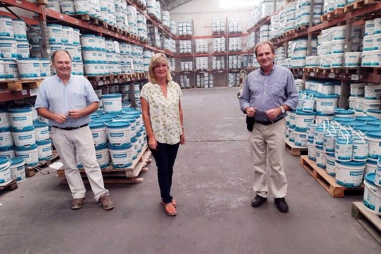 Tres de los cuatro hermanos Tarquini que manejan la empresa familiar: Carlos, Silvina y Guillermo