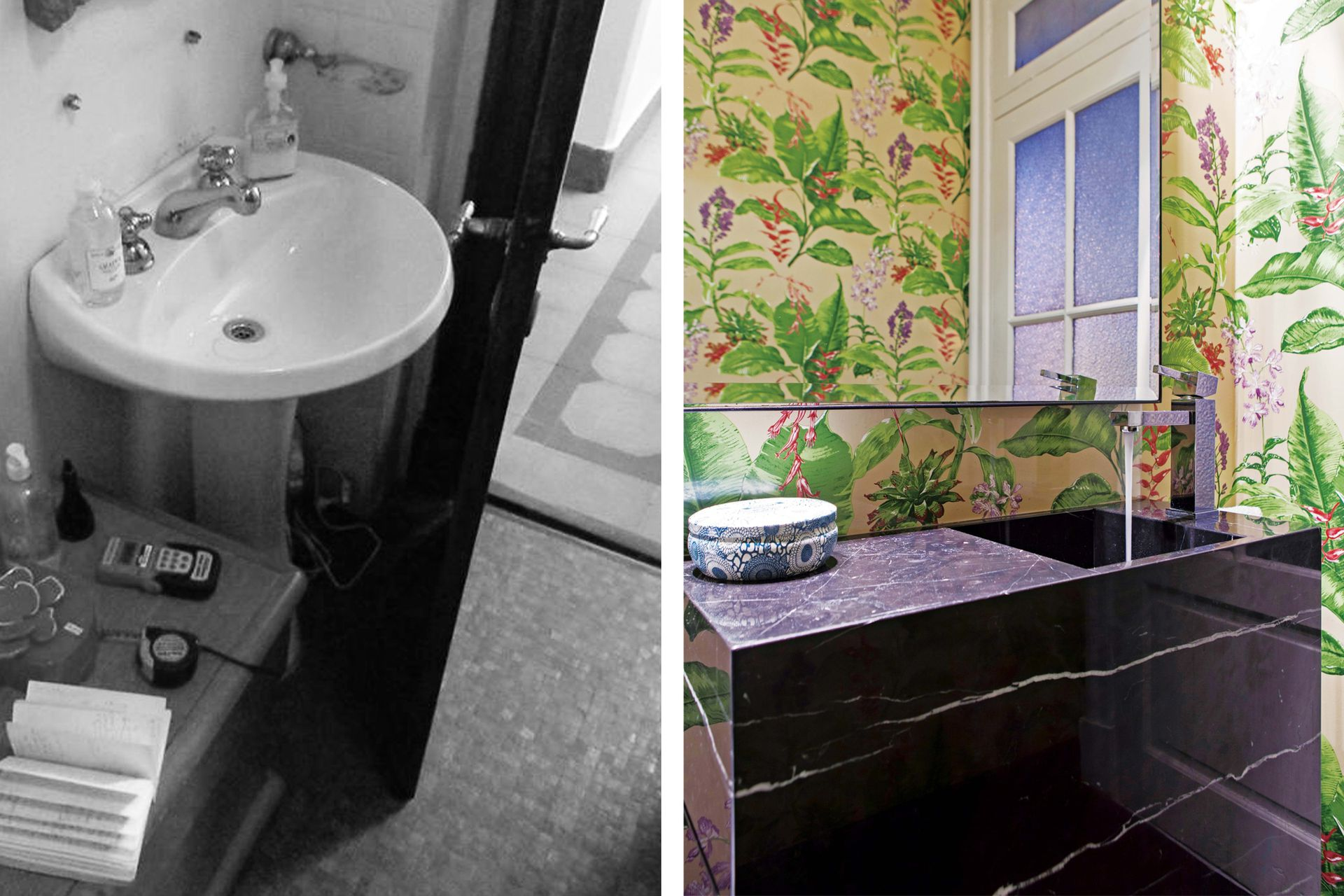 El motivo tropical se multiplica en el gran espejo con marco de hierro creando un efecto irresistible y en perfecta combinación con el piso y el mueble negros. Para preservarlo impecable, la pileta tiene una alzada de acrílico transparente que repele salpicaduras.