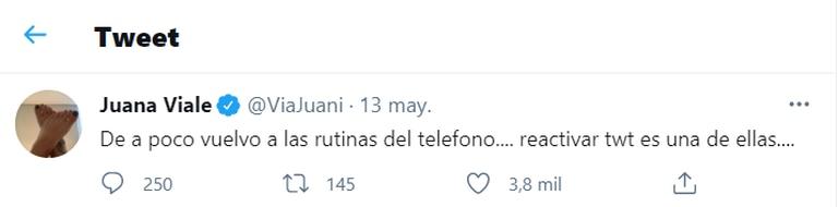 Juana Viale contó que volvió a tener teléfono celular luego de cinco meses de desconexión total.