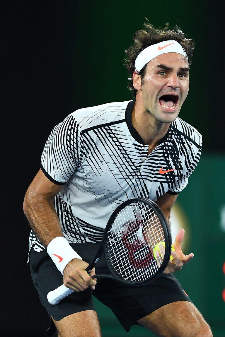 La euforia de Federer al vencer a Nadal en la final de Australia 2017.