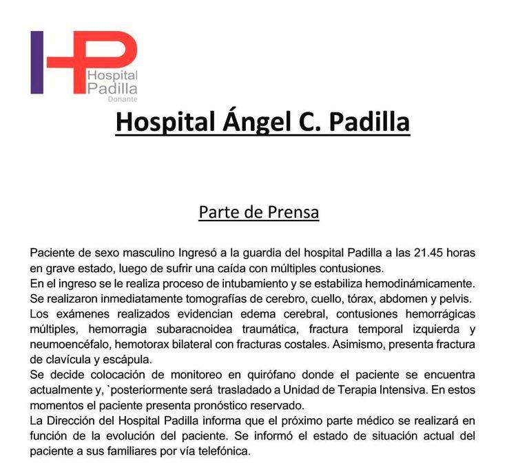 El parte médico sobre el estado de salud de Sergio Denis