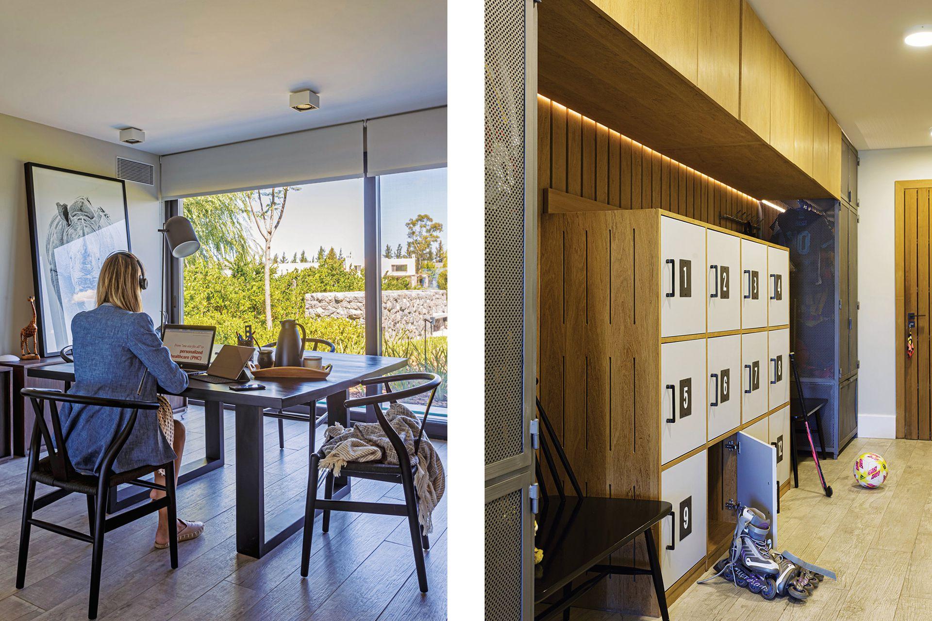 Espacio de home office con fotografía de Agustín Cleris, escritorio laqueado y sillas 'Wishbone' (todo de Negro House Pleasures). Bolsos y complementos quedan en los lockers (Valeria Berney) del hall secundario.