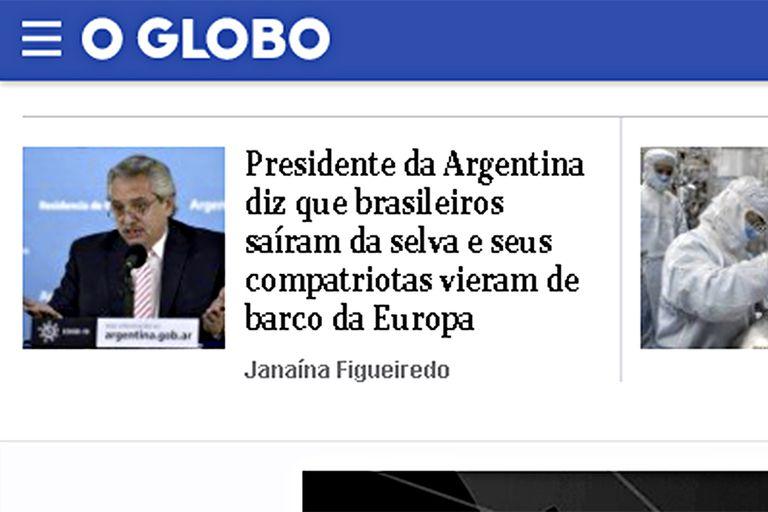 La noticia sobre los dichos de Alberto Fernández en el portal de O Globo