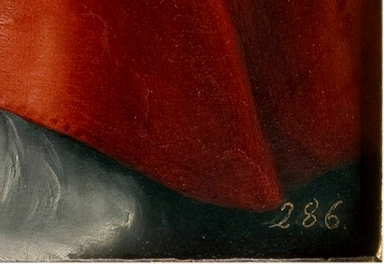 """Detalle del número sobreimpreso en el vértice derecho inferior de """"El Cardenal"""" de Rafael"""