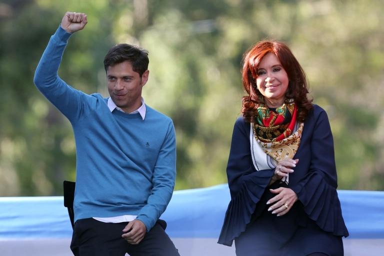 Axel Kicillof y Cristina Kirchner durante el acto en La Plata