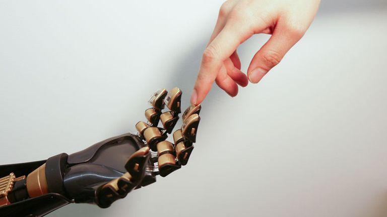 Una prótesis con la piel sensible experimental en la yema de los dedos