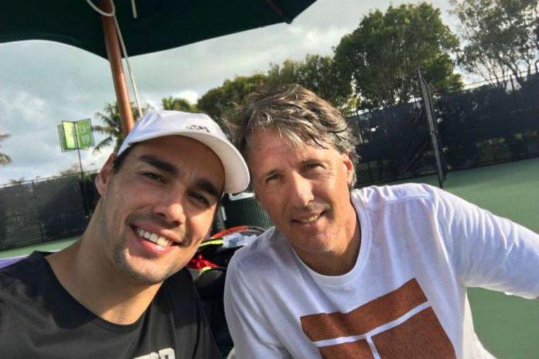Fabio Fognini y Franco Davin, el coach que llevó al italiano al Top 10 por pirmera vez