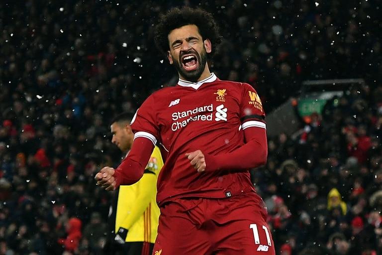 Mohamed Salah, del Liverpool celebra uno de sus goles en la Premier League .