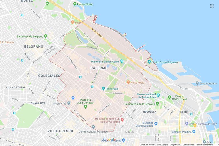¿Llegará un día en que Google Maps muestre la influencia de Palermo en la nomenclatura de los barrios porteños?