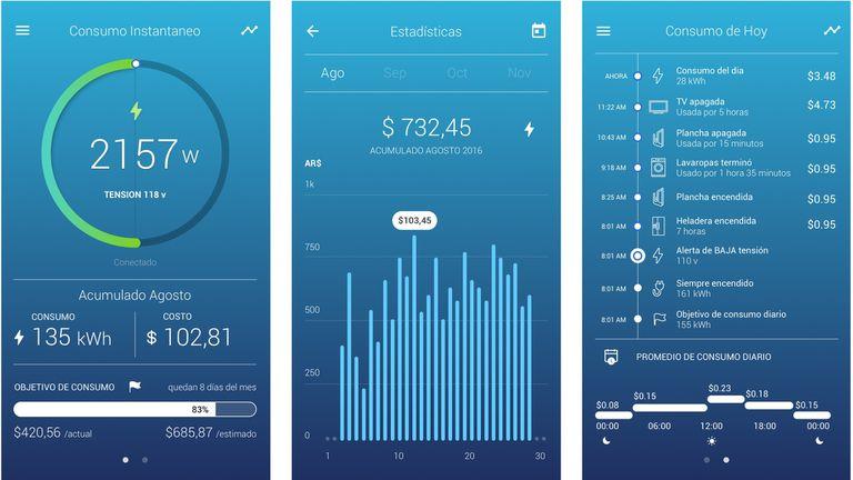 El dispositivo de Wabee permite ver en el celular el consumo diario de electricidad y el acumulado del mes