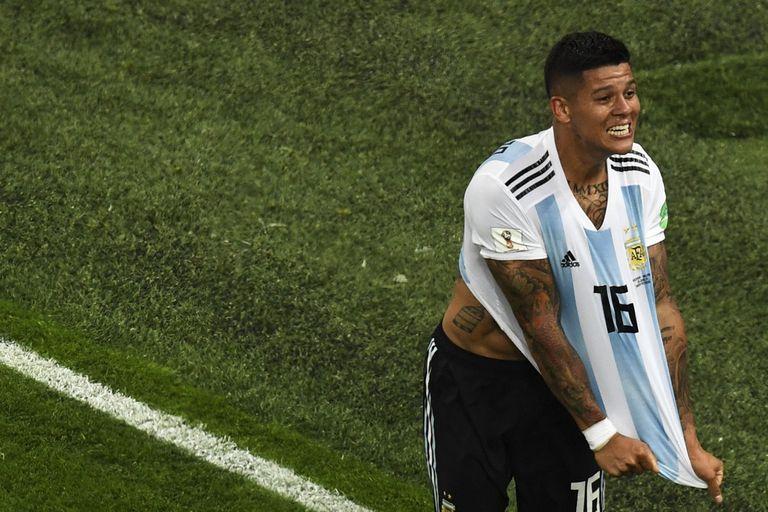 Marcos Rojo hizo un gol en el Mundial de Rusia con la selección argentina; después jugó muy poco