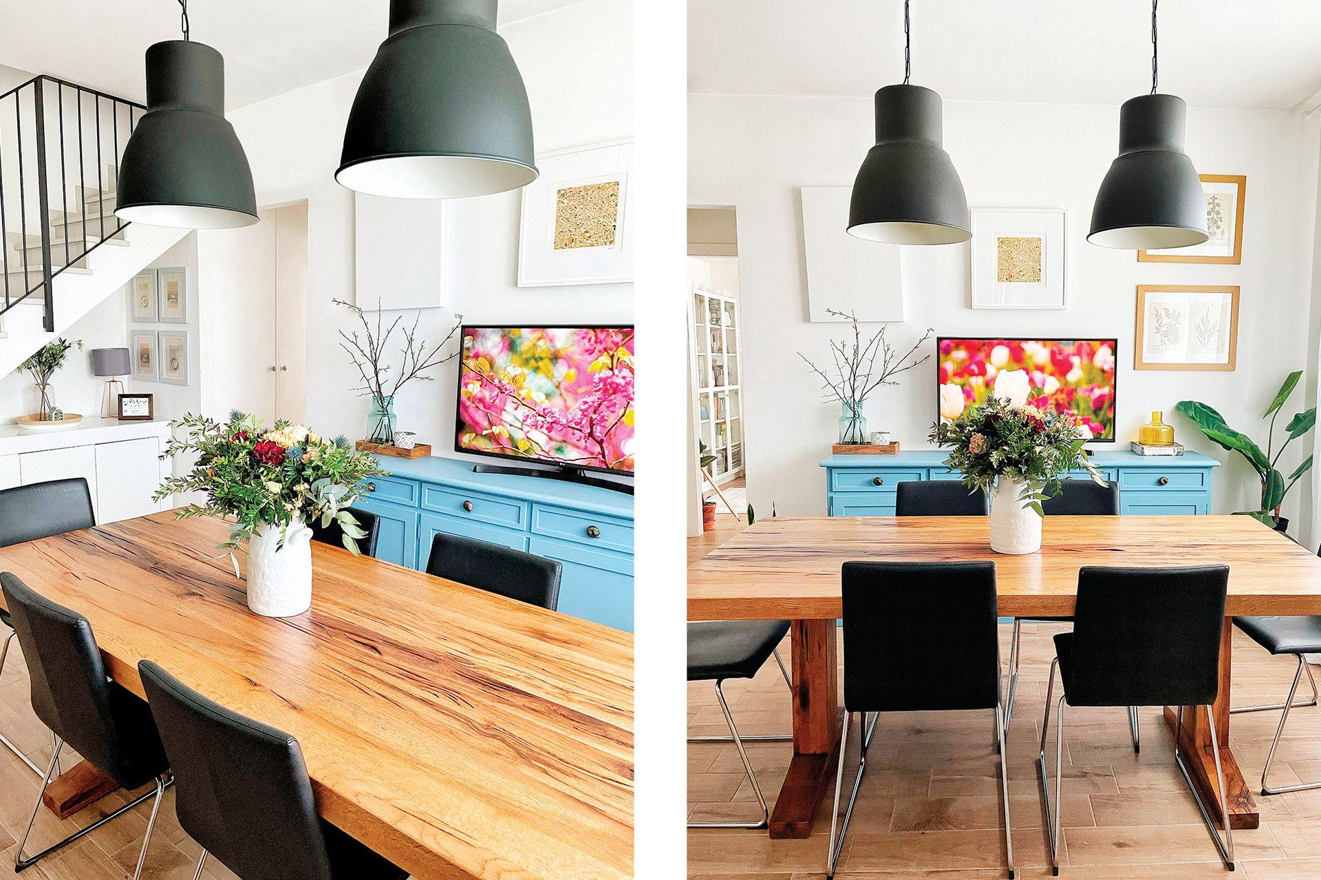Antes de que la casa estuviese lista, se enamoraron de esta mesa y la encargaron igual. Fue el primer mueble que llegó.