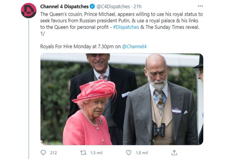 El programa televisivo Channel 4 Dispatches publicó un fragmento de la charla con el príncipe Michael, donde aceptó vender sus servicios como miembro de la realeza