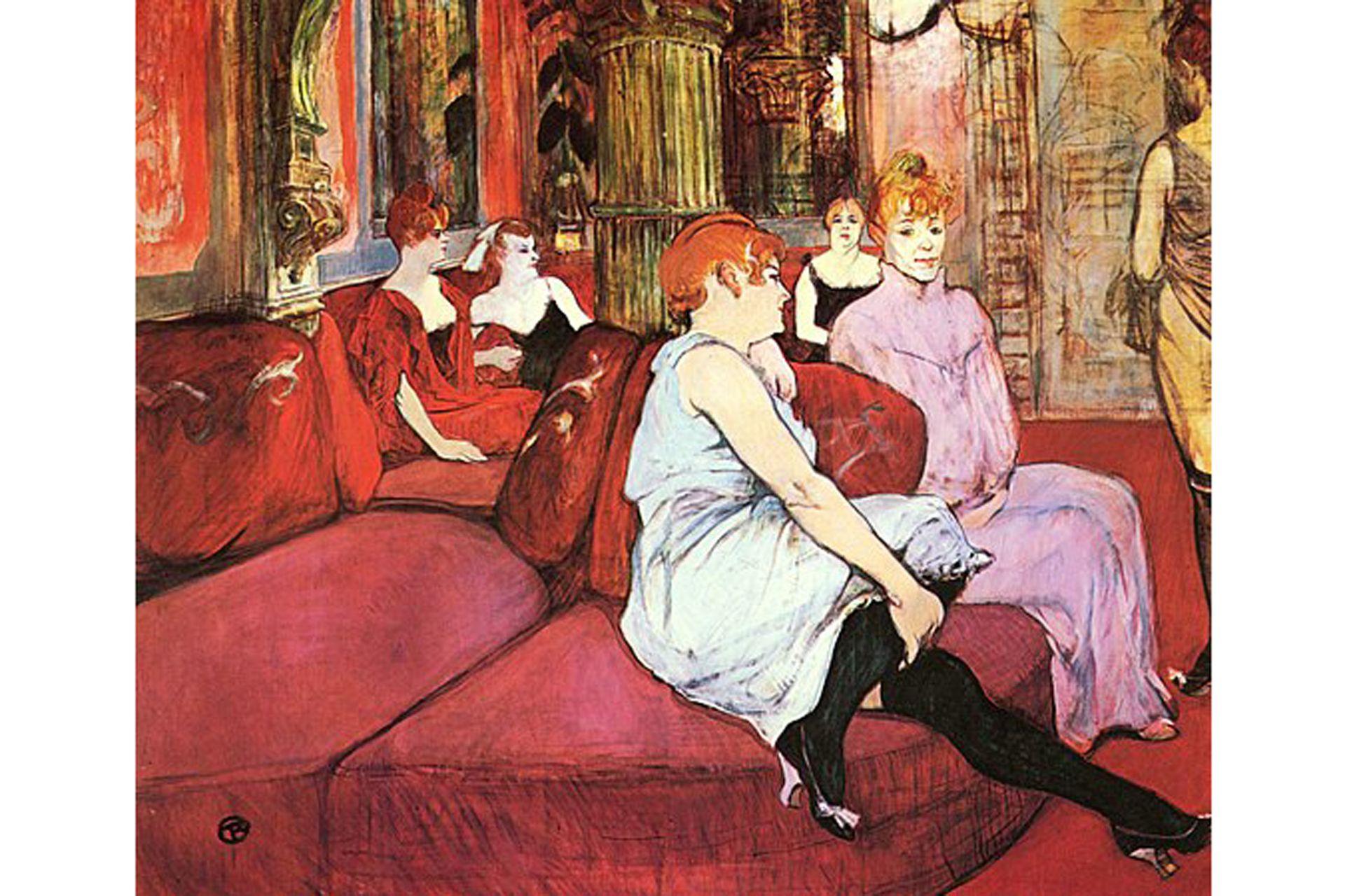 """""""Salon de la rue des moulins"""", de Henri de Toulouse Lautrec, 1894, se encuentra en el museo Toulouse Lautrec de Albi. Pintor de la noche de fines del siglo XIX, aquí capta una escena del trabajo de las prostitutas en un burdel de la calle Des Moulins en el que podía pasar semanas enteras"""