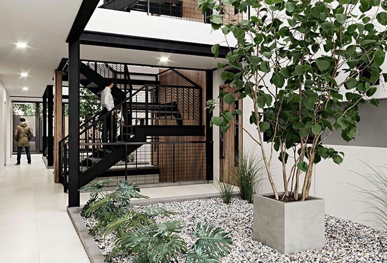 El desarrollo cuenta con 2400 metros cuadrados, distribuidos en planta baja y dos pisos, y ofrece unas 42 departamentos y un sector de parking