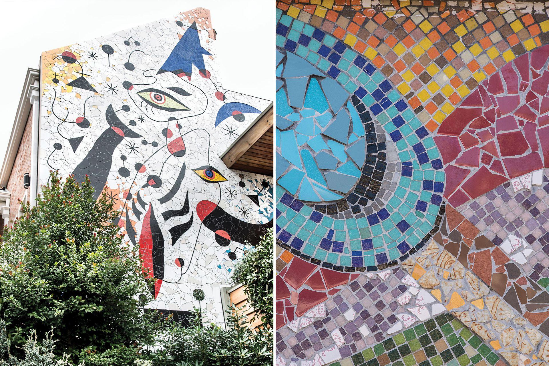 Izq.: Mural cerámico en homenaje a Joan Miró. Der.: Fragmento de la obra de estación Malaver