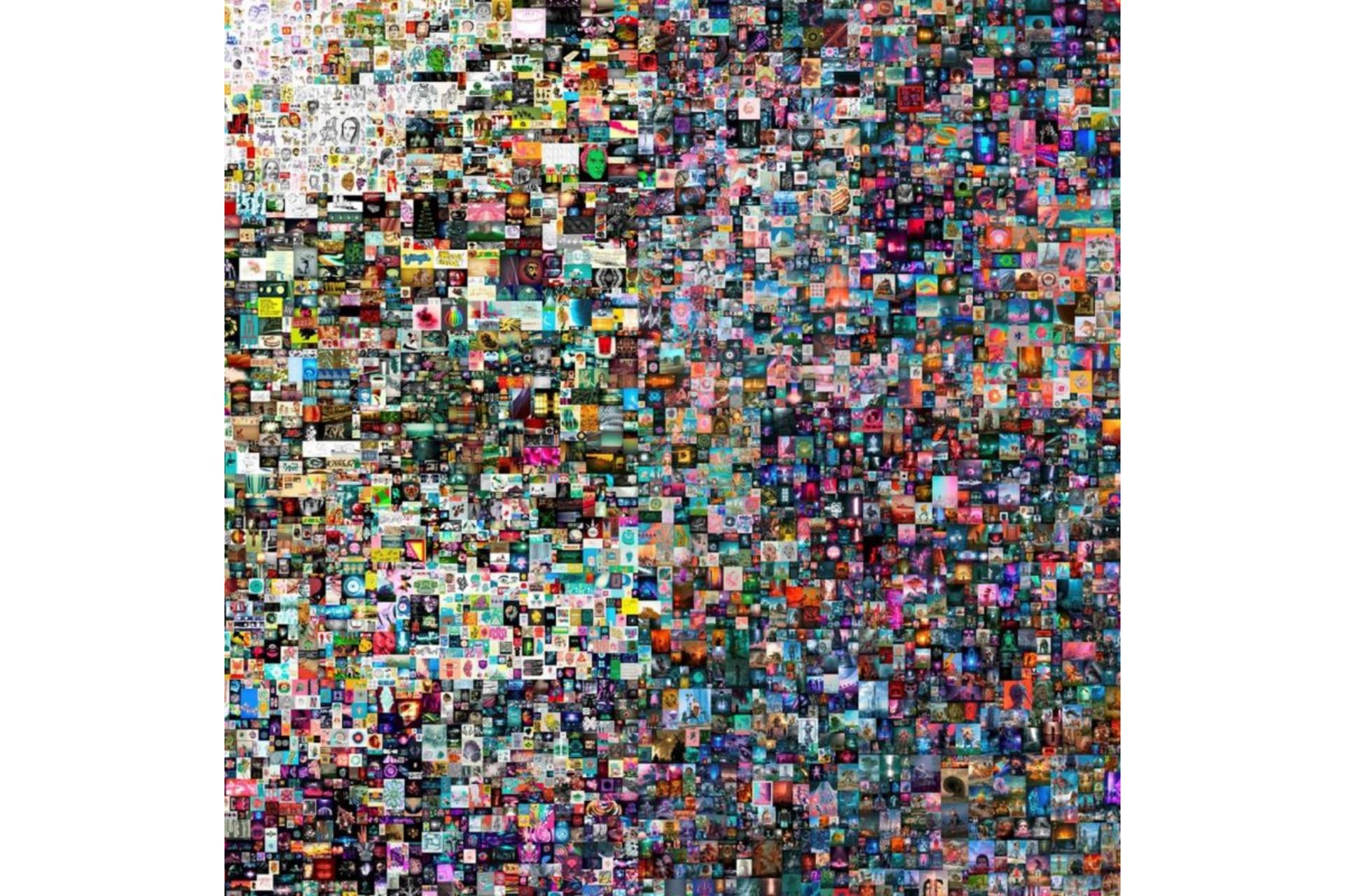 La pieza rematada en Christie's consiste en un collage de 5000 obras de Beeple