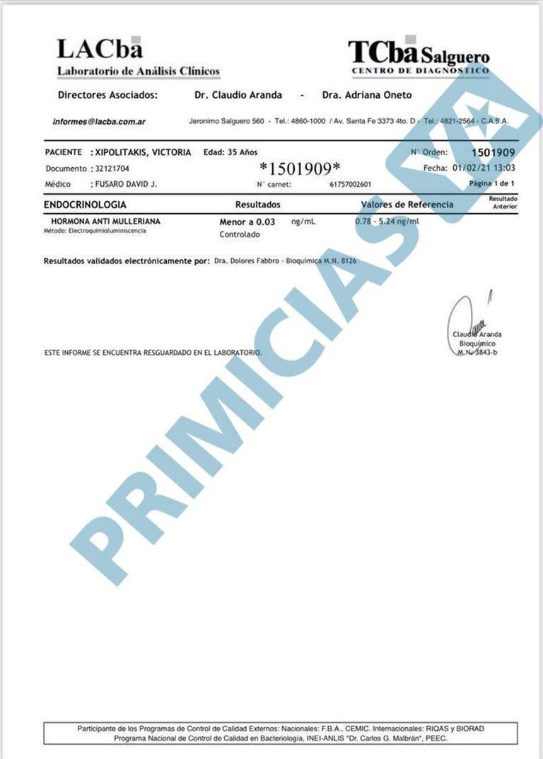 Uno de los documentos que adjuntó Xipolitakis