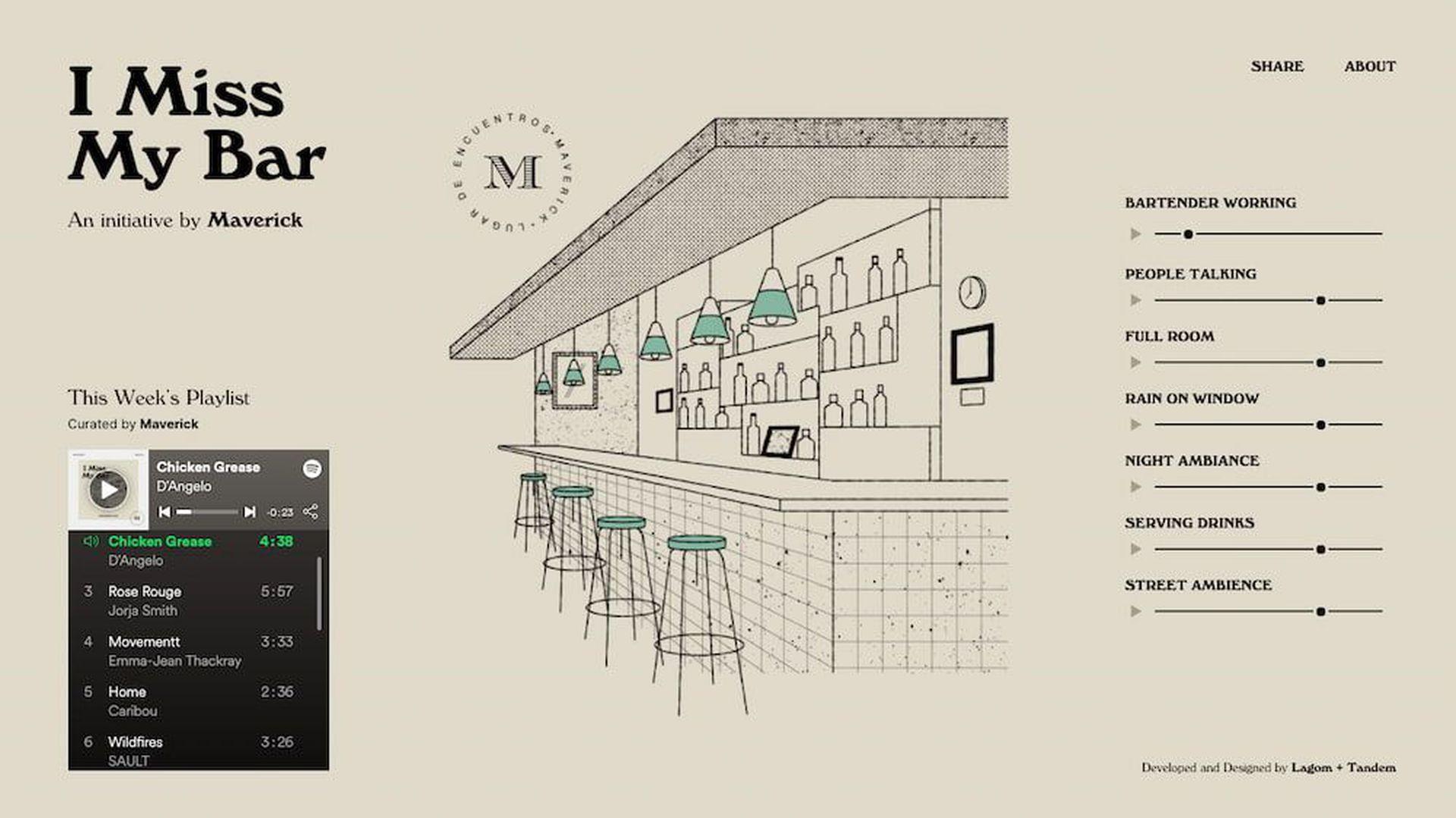 El sitio I Miss My Bar propone recrear los sonidos ambiente del interior de un bar