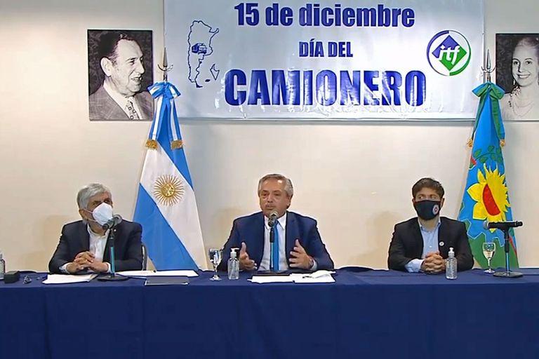 Alberto Fernández compartió con Hugo Moyano el acto por el Día del Camionero