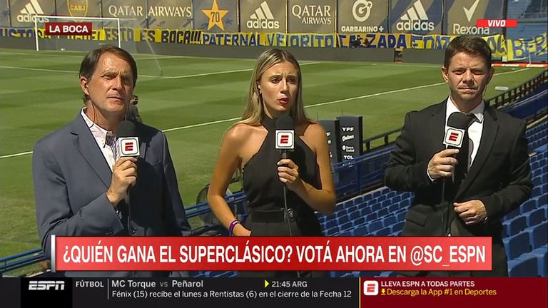 """Morena Beltrán se mostró """"feliz"""" por cubrir el Superclásico y cruzó elogios con Sol Pérez"""