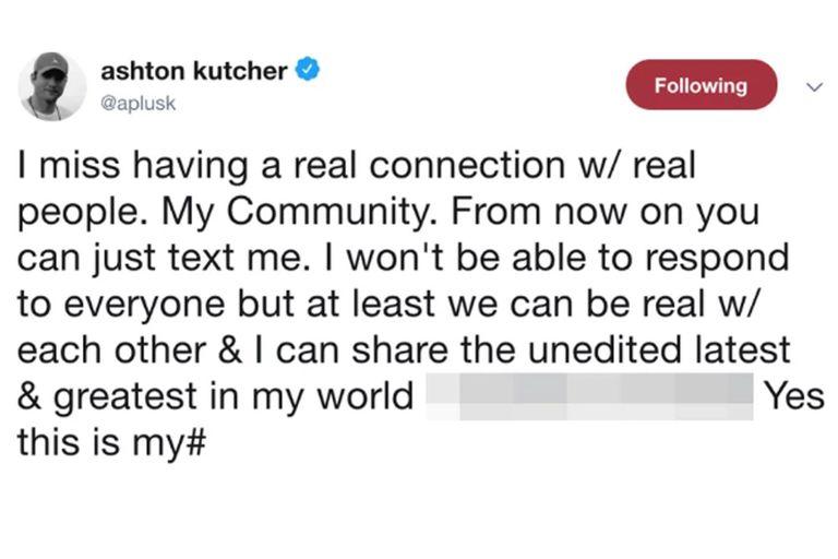 El twitter de Ashton Kutcher con su número de teléfono
