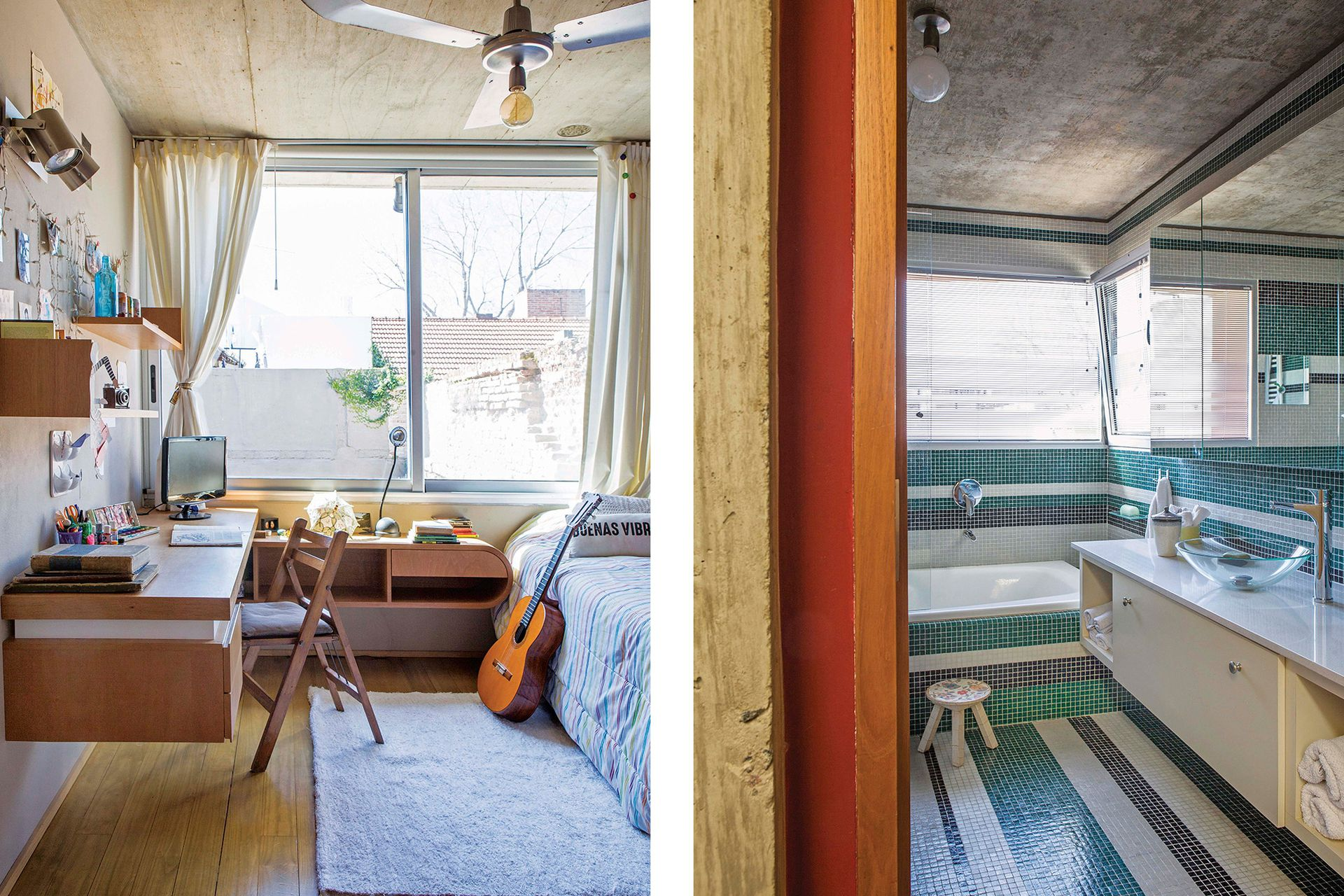 El baño principal tiene revestimiento de venecitas (Murvi), mueble flotante con bacha de apoyo translúcida y grifería (FV).