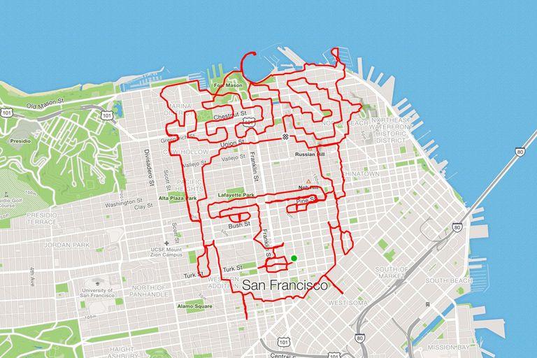 Frida Kahlo dibujada en el recorrido corriendo que hizo Lenny Maughan en San Francisco