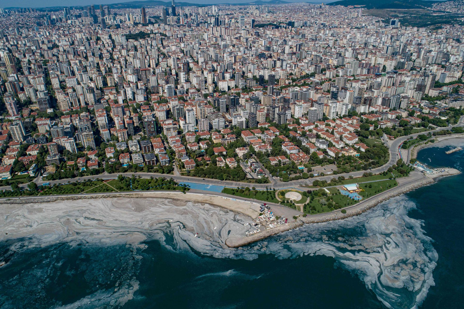 La costa de Estambul invadida por el mucílago