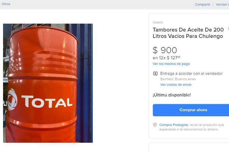 Así se venden online los tambores de aceite de 200 litros para fabricar chulengos