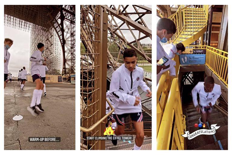 El extremo entrenamiento de las inferiores del PSG en la cima de la Torre Eiffel